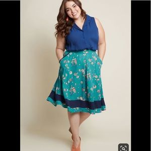 Teal Floral Full Midi Skirt